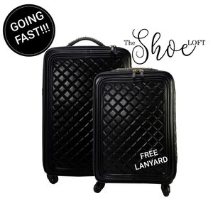 Quilted Rolling Trolley Luggage Travel Set
